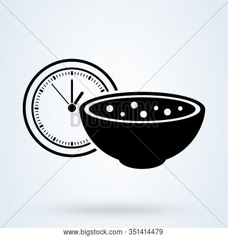 Meal Time Icon. Lunch, Dinner, Breakfast Time Icon In Line Style. Dish, Nutrition Time, Diet Signs.