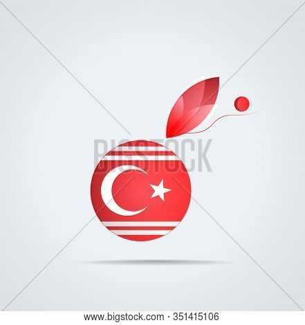 Vector Graphic Icon With Flag And Feather Of Rumelian Turk (bulgaria Turkey Balkans)