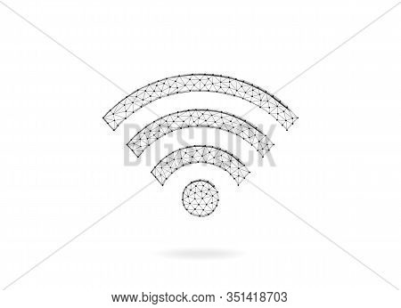 Wireless Network Symbol. Wi-fi Vector Sign. Wi-fi Low Poly Design. Abstract Modern Polygonal Design