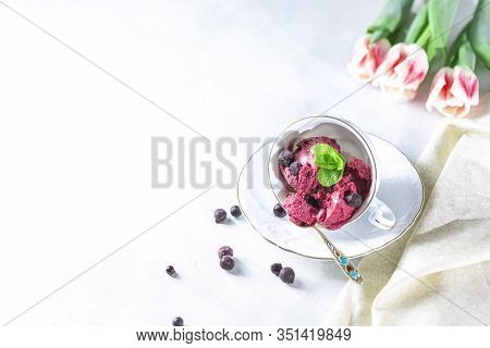 Blackcurrant Sorbet. Berry Ice Cream Iwith Mint And Blackcurrant.