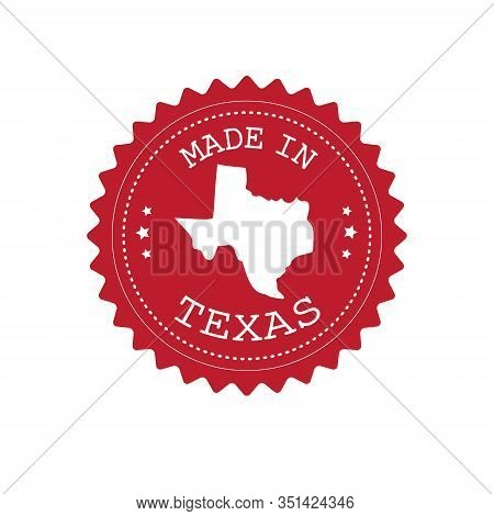 Vector Flat Round Retro Red Logo With Texas Map Silhouette And Made In Texas Text Isolated On White