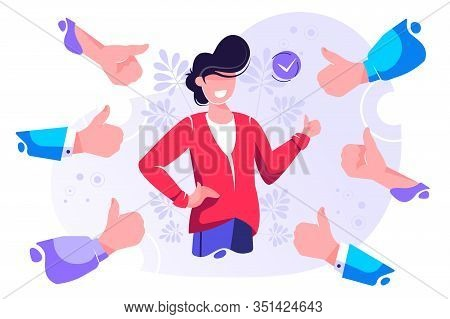 Cheerful Young Man Surrounded By Hands Demonstrating Thumbs Up Gesture. Concept Of Public Approval,