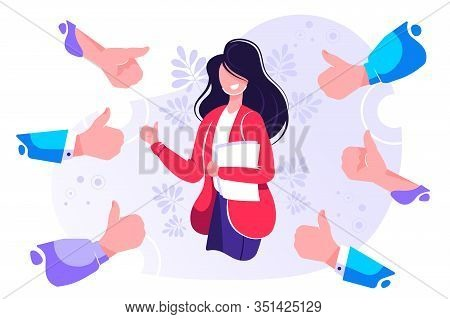 Smiling Happy Young Woman Surrounded By Hands With Thumbs Up. Concept Of Public Approval, Acknowledg
