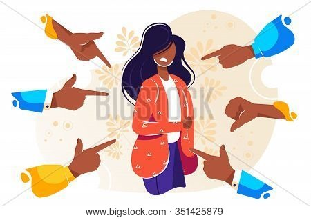 Sad Or Depressed Young Woman Surrounded By Hands With Index Fingers Pointing At Her. Concept Of Quil