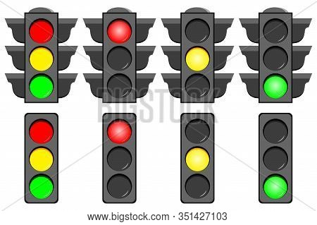Traffic Light Interface Icons Set Isolated On White Background. Vector Concept Typical Horizontal Tr