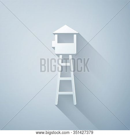 Paper Cut Watch Tower Icon Isolated On Grey Background. Prison Tower, Checkpoint, Protection Territo