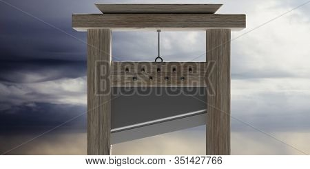 Guillotine Against Cloudy Sky Background. 3D Illustration