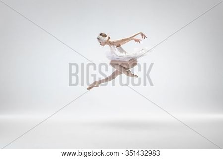 Flying Bird. Graceful Classic Ballerina Dancing Isolated On White Studio Background. Woman In Tender