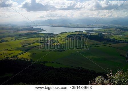The Top Of Cerenova Skala In The Village Liptovska Anna And The View Of The Dam Liptovska Mara.