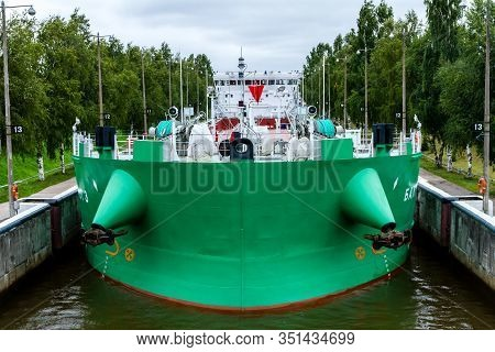 Vytegra, Russia - August 16, 2015: Cargo Ship Entered The White Sea-baltic Canal Gateway, Baltic Sea