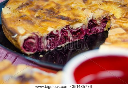 Fresh Slice Of Cherry Pie With Heart Shaped Cup.traditional Bulgarian Pie Banitsa Made From Filo Pas