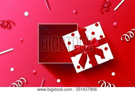 Happy Birthday Background With Present And Decoration. Vector Concept. Banner, Poster, Wallpaper, Ba