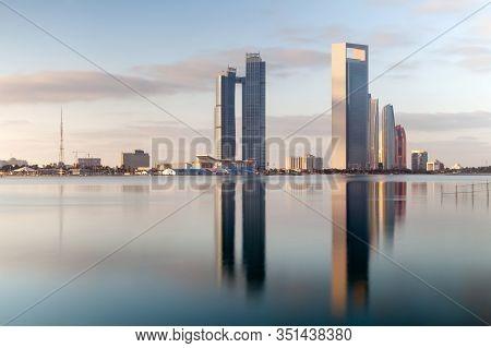 Abu Dhabi, Uae - February 15, 2020: Abu Dhabi Skyline At Sunrise. Establishing Shot.