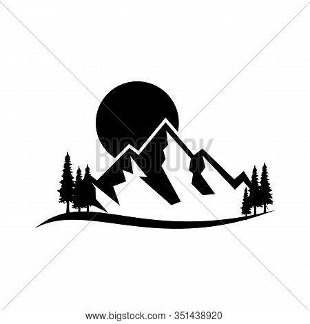 Mountain Tourism And Rock Climbing Icon Set. Mountain Top Black Silhouette With Snowy Peak, Mountain