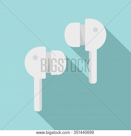 Wireless Earbuds Icon. Flat Illustration Of Wireless Earbuds Vector Icon For Web Design