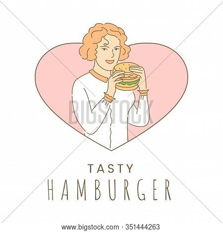 Tasty Hamburger Banner Design Template With Text Space. Young Woman In Heart Shaped Frame Eating Fas
