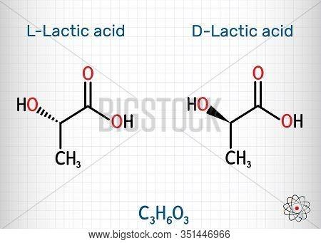 L-lactic Acid And D-lactic Acid, Lactate, Milk Sugar, C3h6o3 Molecule. It Is Chiral, Consisting Of T