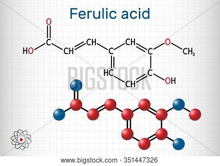 Ferulic Acid, Coniferic Acid, C10h10o4 Molecule. It Is Phenolic Acid, An Antioxidant, An Anti-inflam