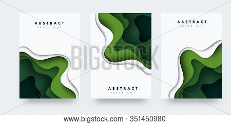 Vertical Banners Set With 3d Abstract Background And Paper Cut Shapes. Vector Design Layout For Busi