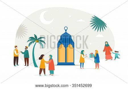 Ramadan Kareem, Eid Mubarak, Greeting Card And Banner With Many People, Giving Gifts, Food. Islamic