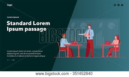Business Leader Instructing Workgroup. Team Using Laptops On Office Flat Vector Illustration. Corpor
