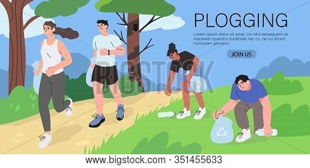 Group Of People Running Or Jogging Outdoor And Pick Up Litter. Plogging Movement Or Marathon, Plasti