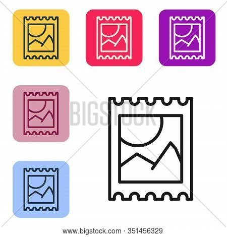 Black Line Lsd Acid Mark Icon Isolated On White Background. Acid Narcotic. Postmark. Postage Stamp.
