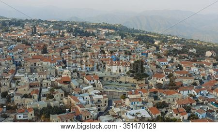 Old Village Pano Lefkara In Mountains, Aerial View. Larnaca District, Cyprus.