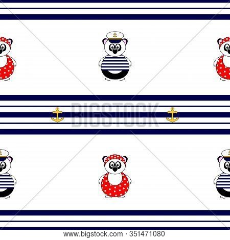 Cute Marine Themed Seamless Vector Pattern, With Panda Bear In Bathing Suit And Captains Hat And Blu