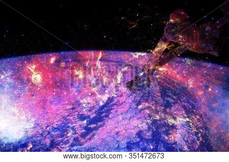 Earth Planet And Space Station At Orbit. Cosmic Art. Elements Of This Image Furnished By Nasa