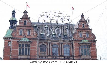 Copenhagen, Denmark - Jul 04th, 2015: Tivoli Building Facade Built In 1843, It Is The Most Famous Am