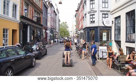 Copenhagen, Denmark - Jul 06th, 2015: Tourists Enjoy Sightseeing Of Copenhagen During Their Guided S