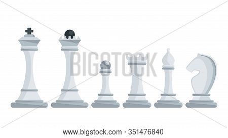 Set Of White Figures For Chess. King, Queen And Rook, Bishops, Knights And Pawn. Strategy Logic Boar
