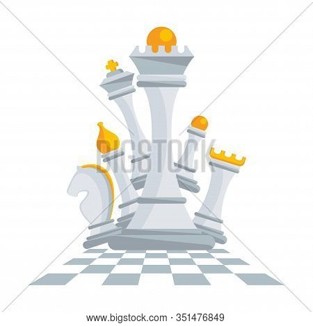 Set Of Figures For Chess. King, Queen And Rook, Bishops, Knights And Pawn. Board Logic Game. Tournam
