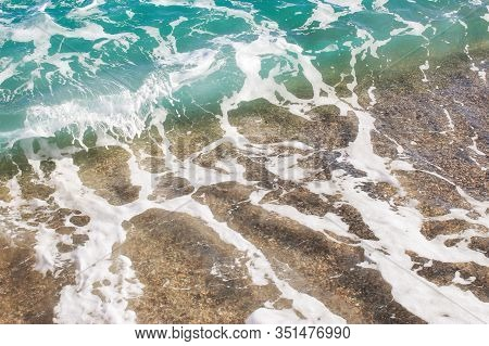 Beach Texture. Golden Sand And Sea Foam Pattern. Beach Background With Copy Space. Abstract Sea Back