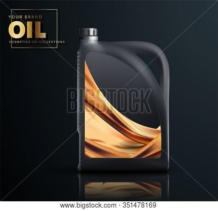Canister Of Engine Motor Oil, Full Synthetic Clinging Molecules Protection. Bottle Engine Oil, Techn