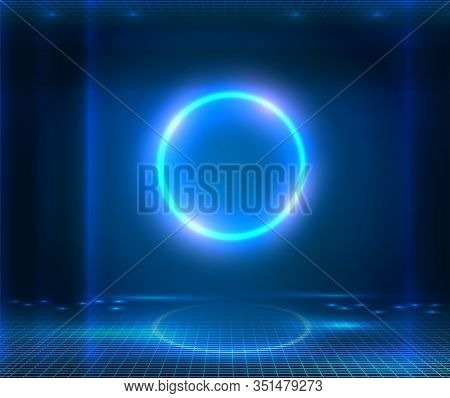 Futuristic Sci Fi Elegant Modern Neon Glowing Circle. Blue Neon Abstract Background With Glowing Rin