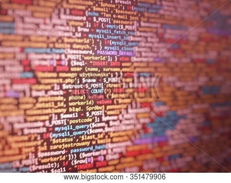 Red  Unique Background. Programming Php On Laptop Computer Screen. Program Code Php Html Css Of Site