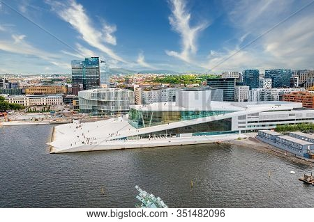 Oslo, Norway - May 10, 2019: View From The Fjord To The National Oslo Opera House And Oslo Downtime