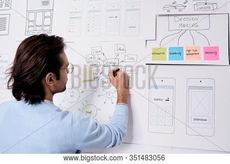Horizontal shot of young Caucasian man doing planning of his work on new company project making notes on piece of paper