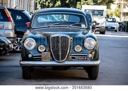 Palermo, Sicily - February 8, 2020: The Frontal Part Of The Legendary Lancia Aurelia B20 Gt Vintage