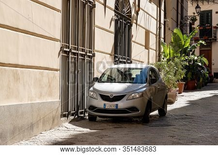 Palermo, Sicily - February 8, 2020: Lancia Ypsilon Hatchback In Narrow Streets Of Palermo, Sicily. I