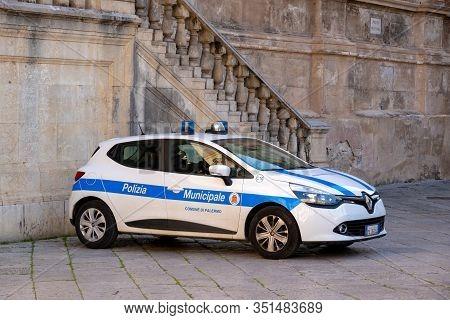 Palermo, Sicily - February 8, 2020: Renault Clio Police Car Of The Palermo Town Police (polizia Muni