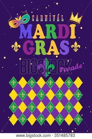 2020 Abstract carnival Mardi Gras festival New Orleans night party poster, Samba dance music parade Rio Brazilian Carnival, notting hill, Venezia costume fleur de lis sign diamond pattern invitation vector