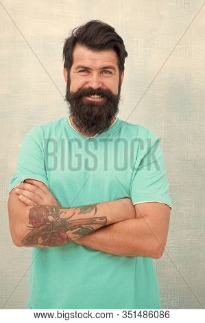 Enjoy Good Fabulous Mustache. Bearded Man With Stylish Mustache Shape. Brutal Hipster With Textured