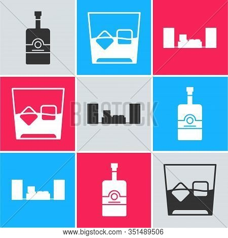 Set Whiskey Bottle , Glass Of Whiskey And Ice Cubes And Home Stereo With Two Speakers Icon. Vector