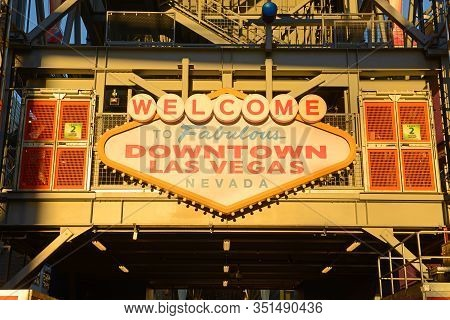 Las Vegas - Dec 26, 2015: Welcome To Fabulous Downtown Las Vegas Sign In Fremont East District On Fr