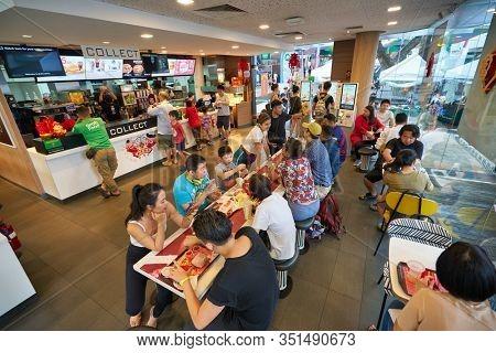 SINGAPORE - JANUARY 19, 2020: interior shot of McDonald's restaurant in Singapore.