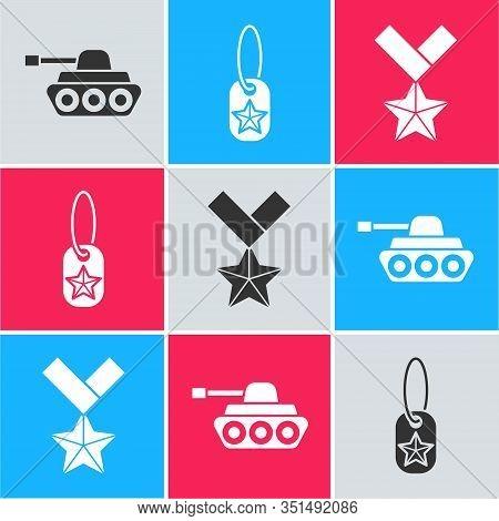 Set Military Tank , Military Dog Tag And Military Reward Medal Icon. Vector