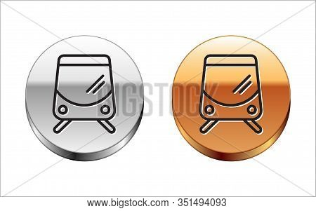 Black Line Tram And Railway Icon Isolated On White Background. Public Transportation Symbol. Silver-